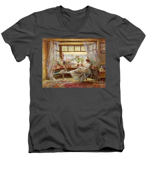 Reading By The Window Men's V-Neck T-Shirt