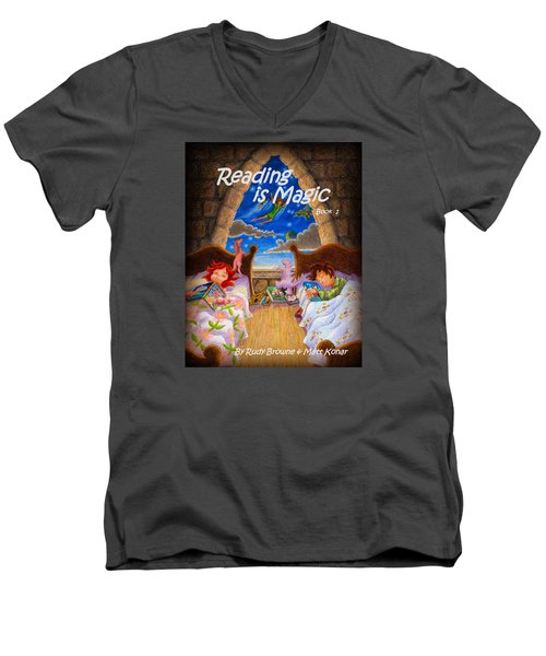 Men's V-Neck T-Shirt featuring the painting Reading Is Magic by Matt Konar
