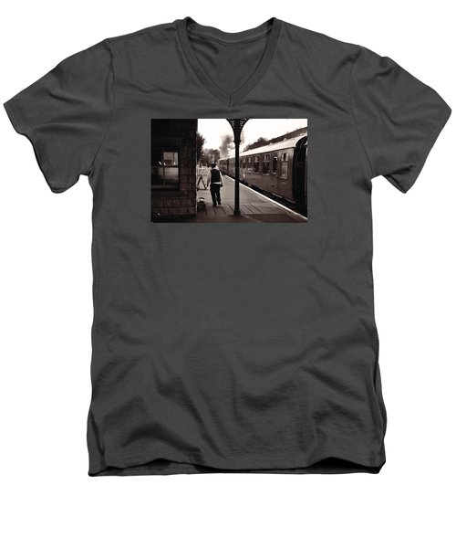 Men's V-Neck T-Shirt featuring the photograph Ready To Depart Corfe Castle Station by Nop Briex