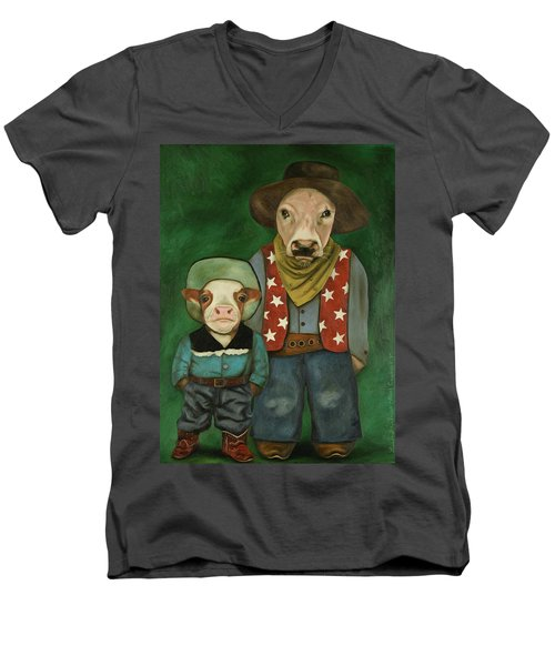 Men's V-Neck T-Shirt featuring the painting Real Cowboys 3 by Leah Saulnier The Painting Maniac