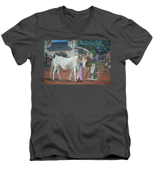 Men's V-Neck T-Shirt featuring the painting Real Life In Her Dreams by Bryan Bustard