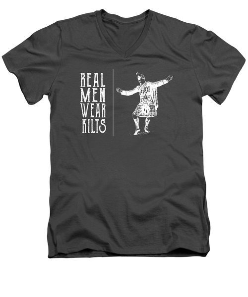 Real Men Wear Kilts Men's V-Neck T-Shirt by Heather Applegate