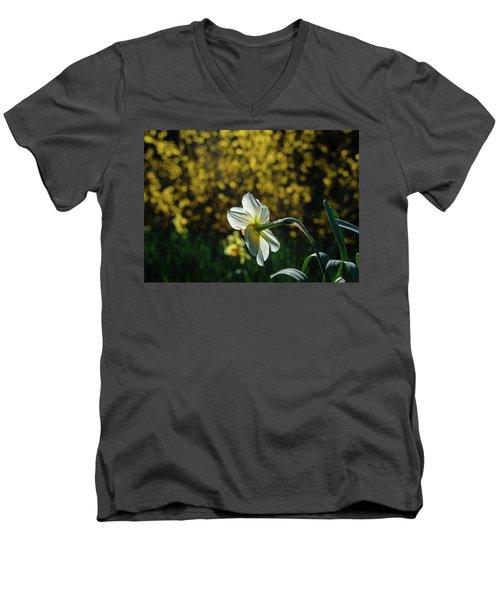 Rear View Daffodil Men's V-Neck T-Shirt