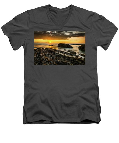 Men's V-Neck T-Shirt featuring the photograph Receding Tide by Nick Bywater