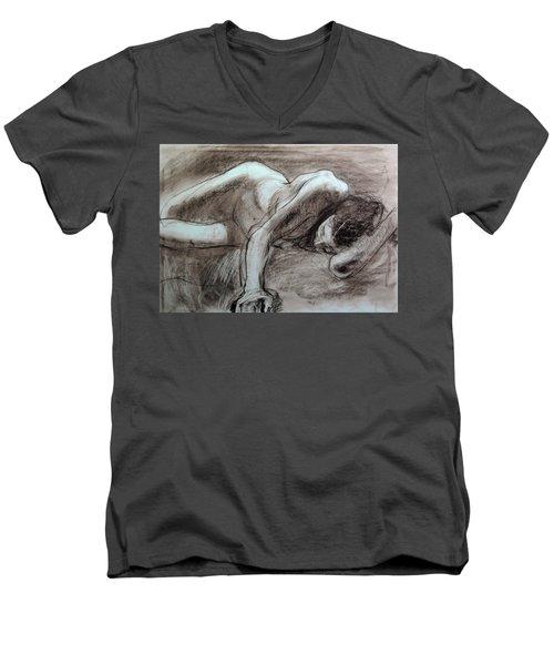 Reclining Female Men's V-Neck T-Shirt