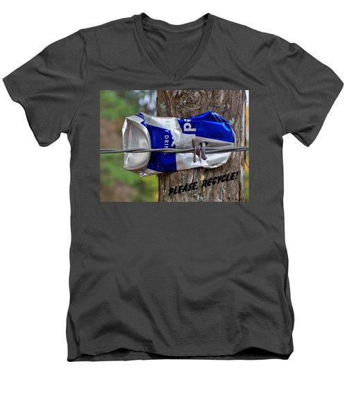 Men's V-Neck T-Shirt featuring the photograph Recycle Please by Betty Northcutt