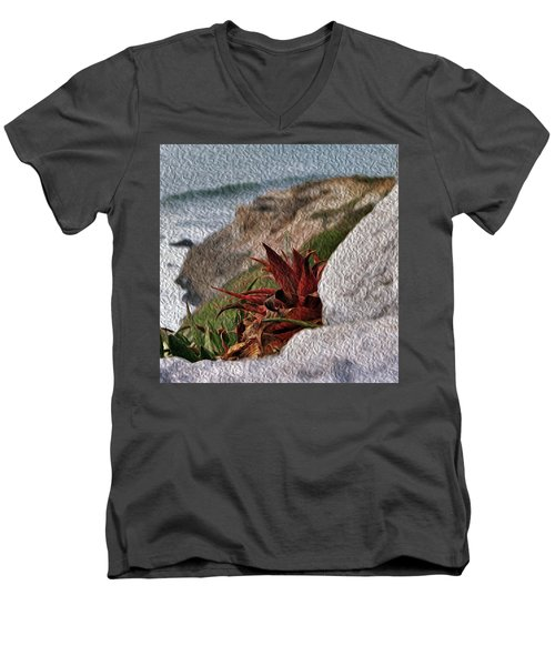 Red Aloe Vera By The Sea Men's V-Neck T-Shirt