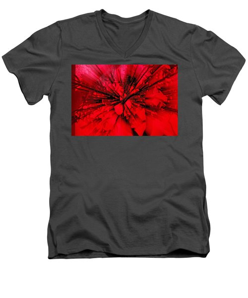 Men's V-Neck T-Shirt featuring the photograph Red And Black Explosion by Susan Capuano