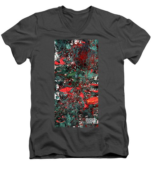 Men's V-Neck T-Shirt featuring the painting Red And Black Turquoise Drip Abstract by Genevieve Esson