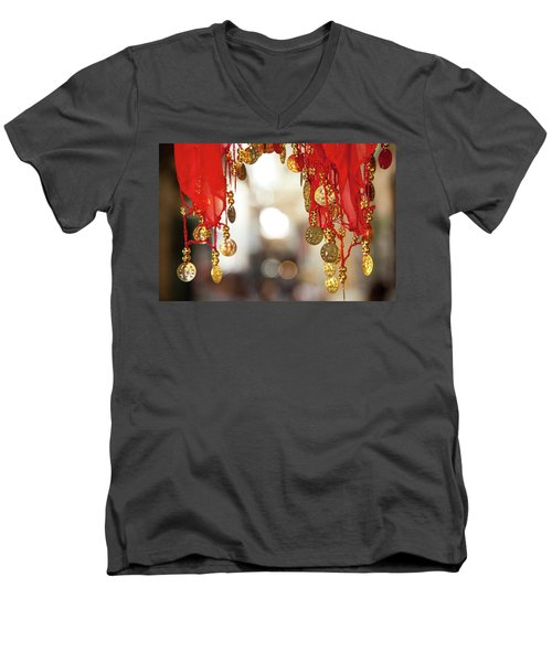 Red And Gold Entrance To Market Men's V-Neck T-Shirt by Yoel Koskas