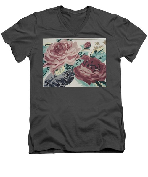Red And Pink Flowers Men's V-Neck T-Shirt