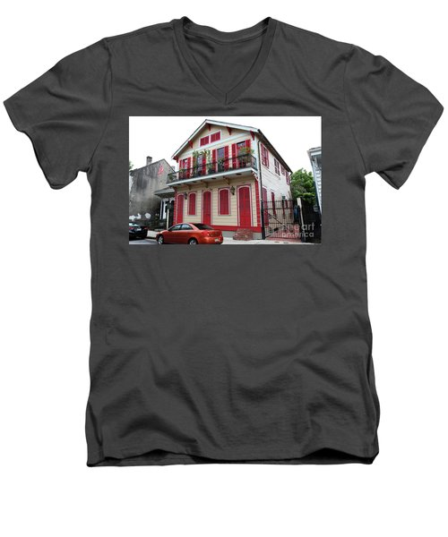 Red And Tan House Men's V-Neck T-Shirt