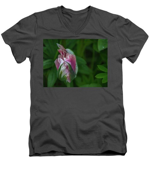 Men's V-Neck T-Shirt featuring the photograph Red And White Bud 1 by Timothy Latta