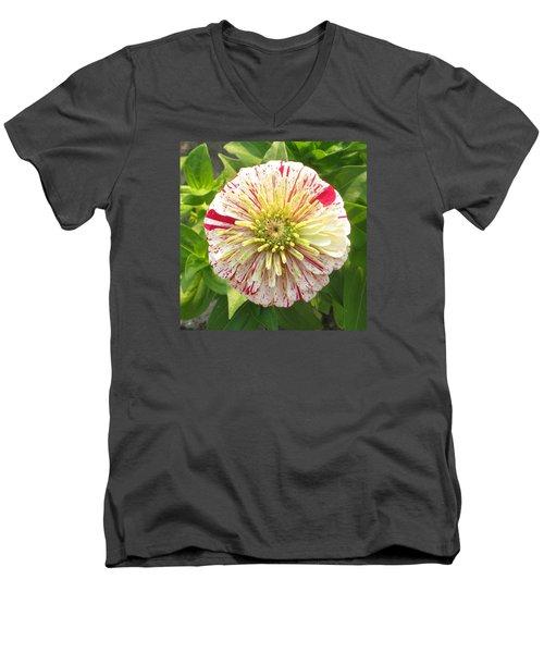 Red And White Flower Men's V-Neck T-Shirt