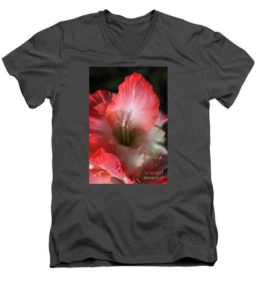 Red And White Gladiolus Flower Men's V-Neck T-Shirt by Joy Watson