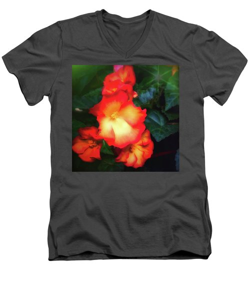 Red  And Yellow Men's V-Neck T-Shirt