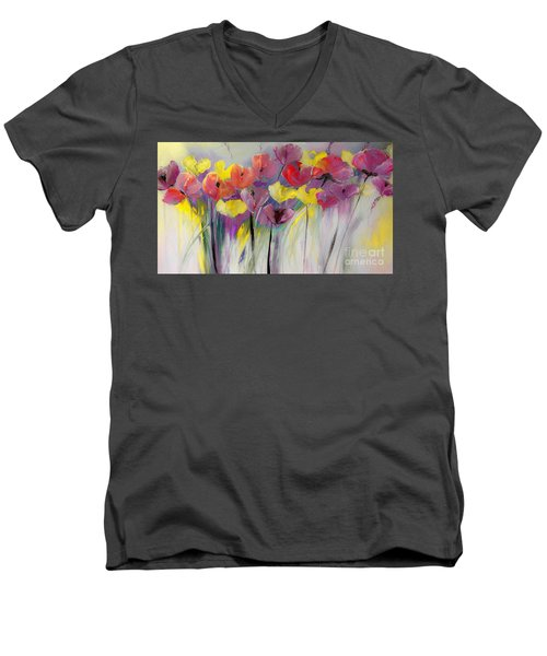 Red And Yellow Floral Field Painting Men's V-Neck T-Shirt by Lisa Kaiser