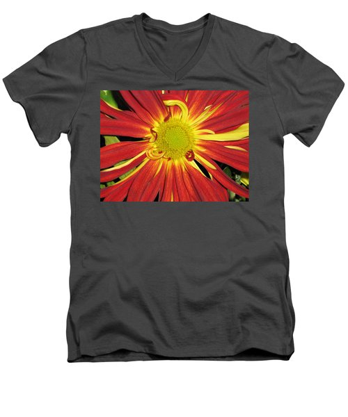 Red And Yellow Flower Men's V-Neck T-Shirt by Barbara Yearty