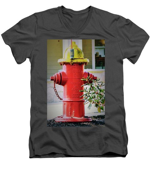 Red And Yellow Hydrant Men's V-Neck T-Shirt