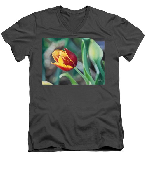 Men's V-Neck T-Shirt featuring the painting Red And Yellow Tulip by Joshua Martin