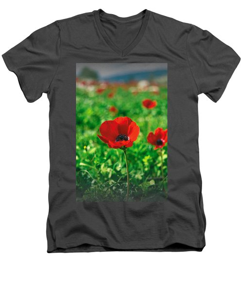 Red Anemone Coronaria T-shirt Men's V-Neck T-Shirt by Isam Awad