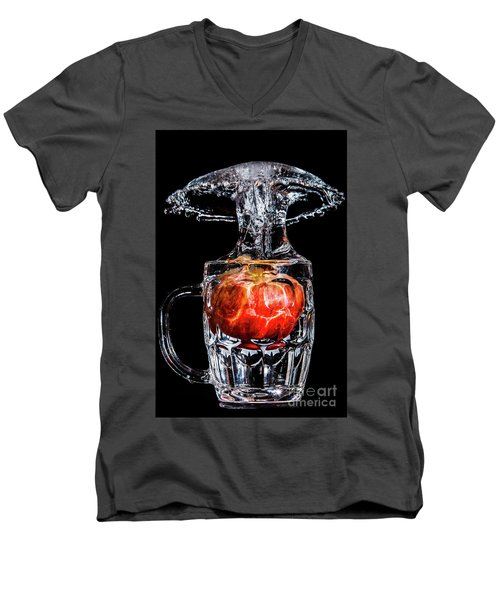 Men's V-Neck T-Shirt featuring the photograph Red Apple Splash by Ray Shiu
