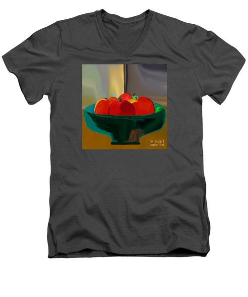Men's V-Neck T-Shirt featuring the digital art Red Apples Fruit Series by Haleh Mahbod