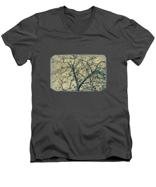 Red Apples In Empty Garden Men's V-Neck T-Shirt by Konstantin Sevostyanov