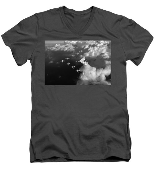 Red Arrows And Vulcan Above Clouds Black And White Men's V-Neck T-Shirt