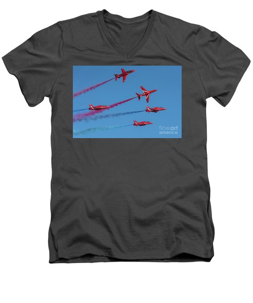 Men's V-Neck T-Shirt featuring the photograph Red Arrows Enid Break by Gary Eason