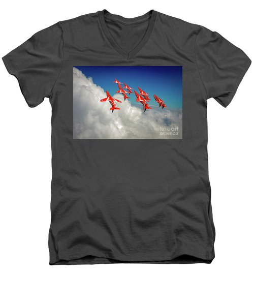 Men's V-Neck T-Shirt featuring the photograph Red Arrows Sky High by Gary Eason