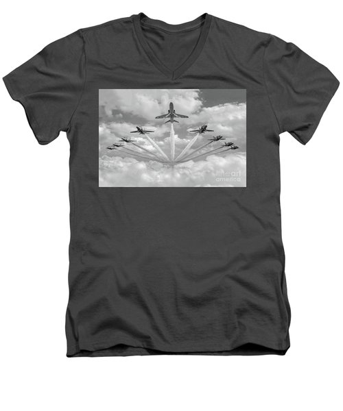 Men's V-Neck T-Shirt featuring the photograph Red Arrows Smoke On Bw Version by Gary Eason
