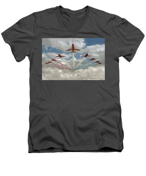 Men's V-Neck T-Shirt featuring the photograph Red Arrows Smoke On  by Gary Eason