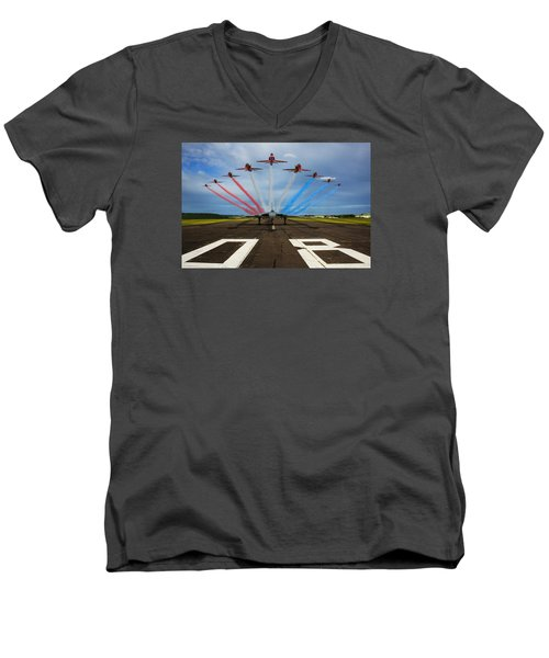 Red Arrows Tribute To Vulcan Xh558 Men's V-Neck T-Shirt by Ken Brannen