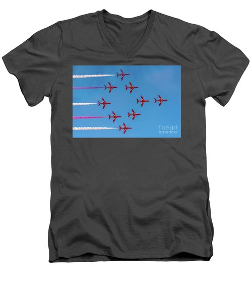 Men's V-Neck T-Shirt featuring the photograph Red Arrows Typhoon Formation by Gary Eason