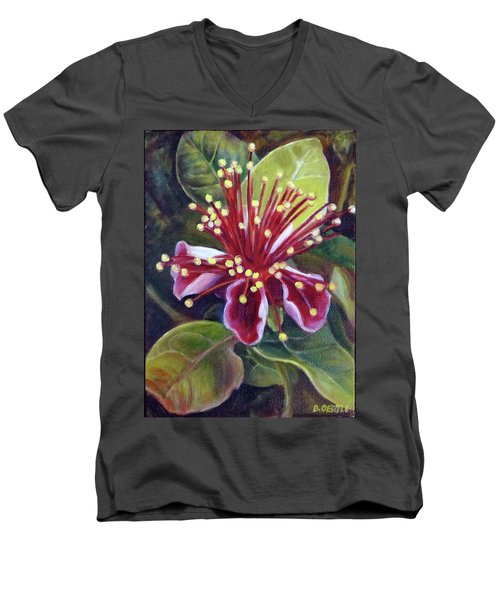 Pineapple Guava Flower Men's V-Neck T-Shirt