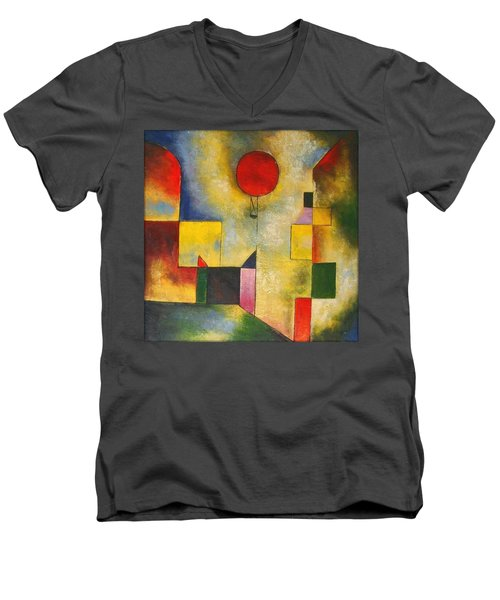 Red Balloon Men's V-Neck T-Shirt by Paul Klee