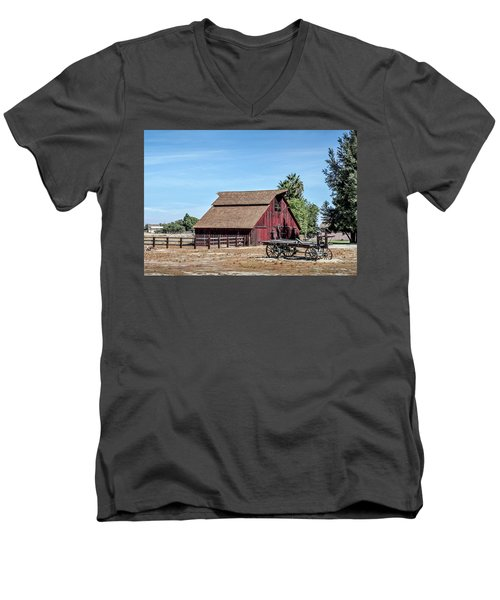 Red Barn And Wagon Men's V-Neck T-Shirt