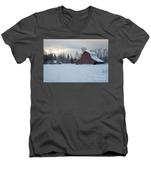 Red Barn At Dawn Men's V-Neck T-Shirt