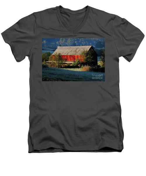 Men's V-Neck T-Shirt featuring the photograph Red Barn by Douglas Stucky