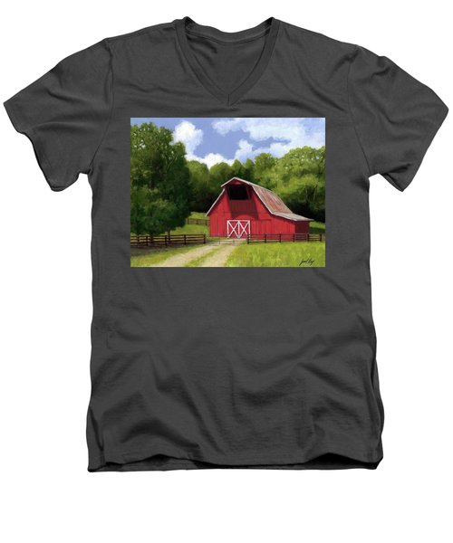 Men's V-Neck T-Shirt featuring the painting Red Barn In Franklin Tn by Janet King