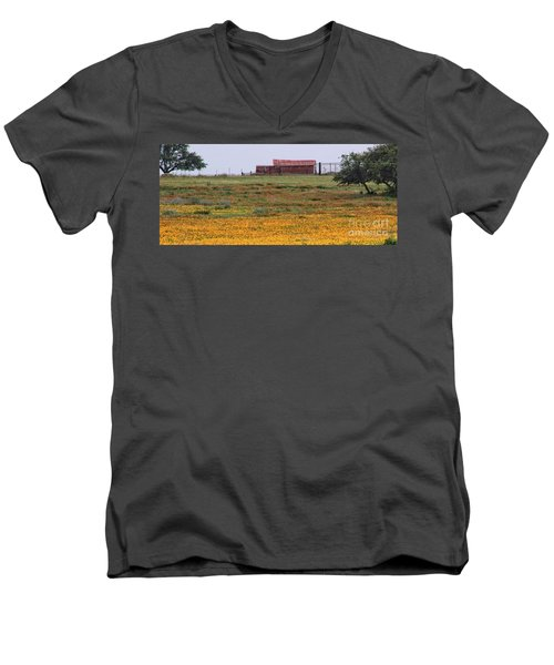 Red Barn In Wildflowers Men's V-Neck T-Shirt by Toma Caul