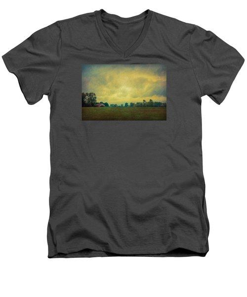 Red Barn Under Stormy Skies Men's V-Neck T-Shirt
