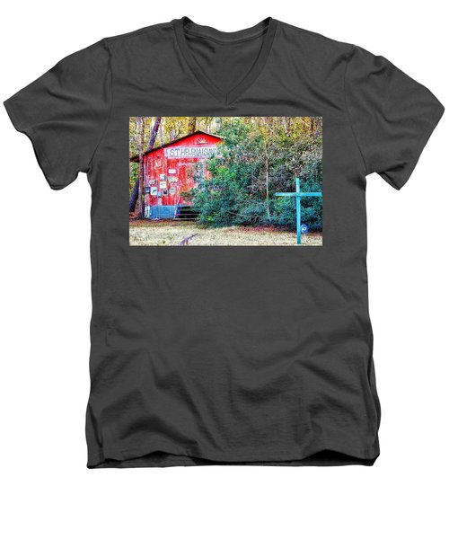 Red Barn With Signs, Heavily Guarded Men's V-Neck T-Shirt