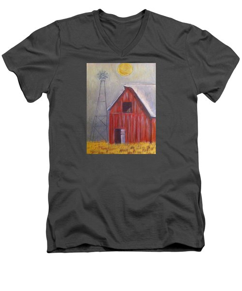 Red Barn With Windmill Men's V-Neck T-Shirt by Belinda Lawson