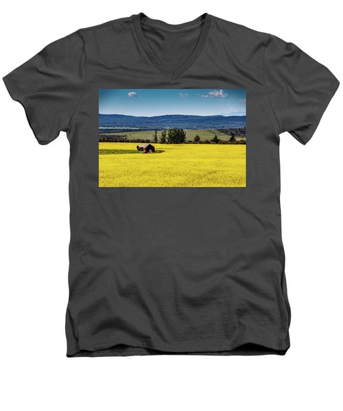 Red Barns In A Sea Of Canola Men's V-Neck T-Shirt