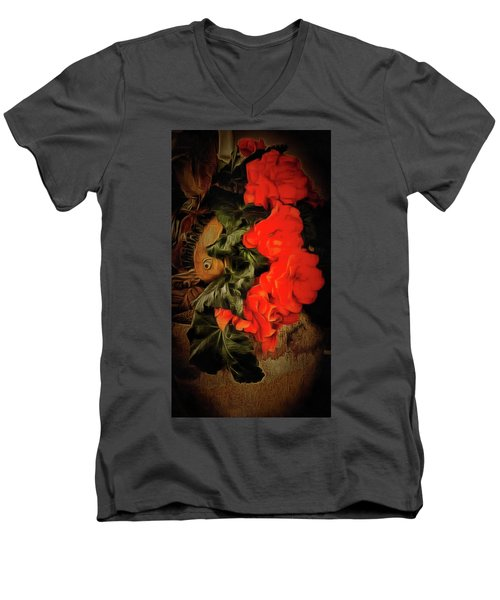 Men's V-Neck T-Shirt featuring the photograph Red Begonias by Thom Zehrfeld