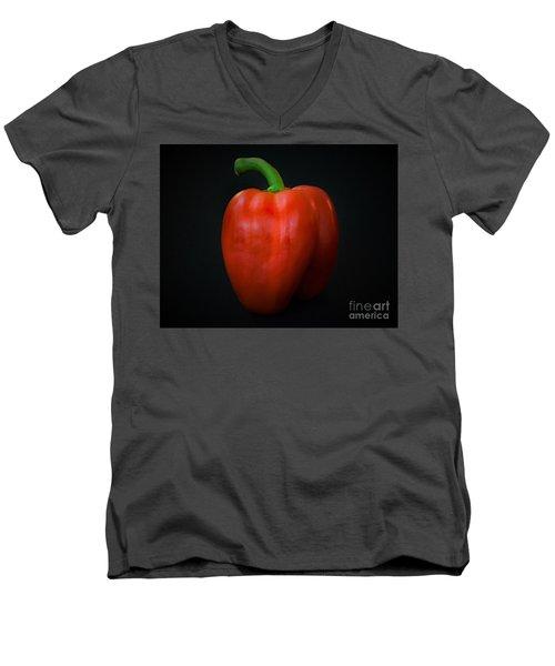 Red Bell Pepper Men's V-Neck T-Shirt by Ray Shrewsberry