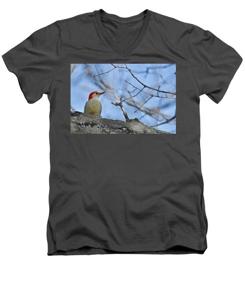 Red-bellied Woodpecker 1137 Men's V-Neck T-Shirt by Michael Peychich