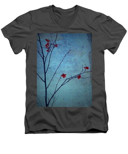 Red Berries Blue Sky Men's V-Neck T-Shirt